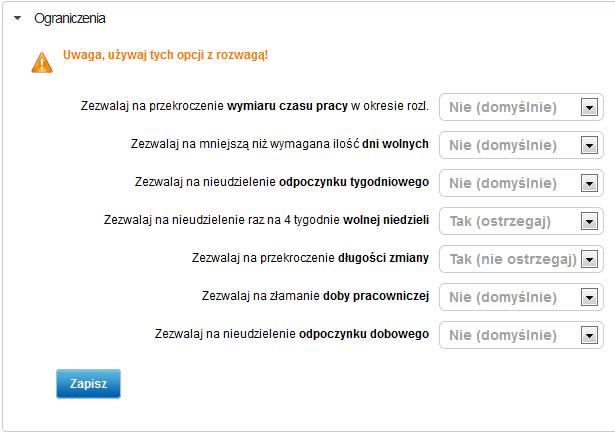 Ustawienia ograniczeń prawnych - zrzut ekranu