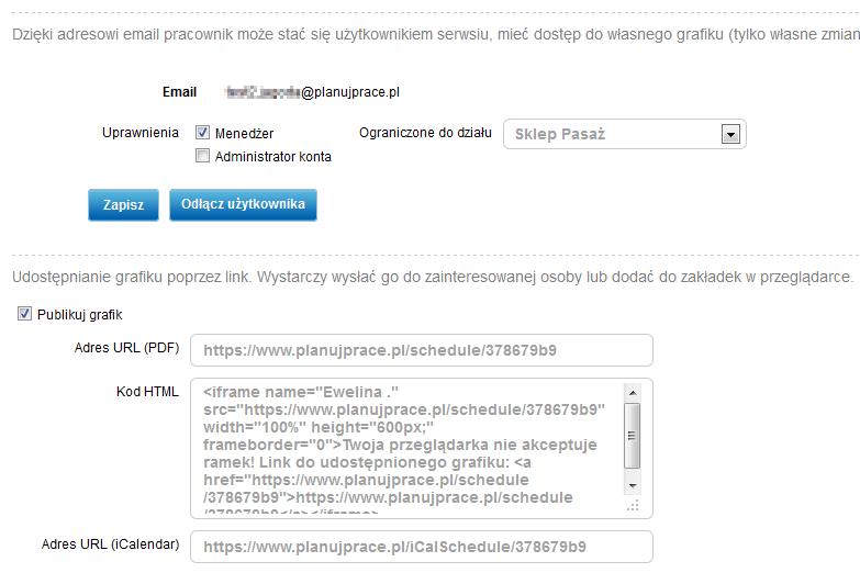 Udostępnianie grafiku pracownikowi - zrzut ekranu